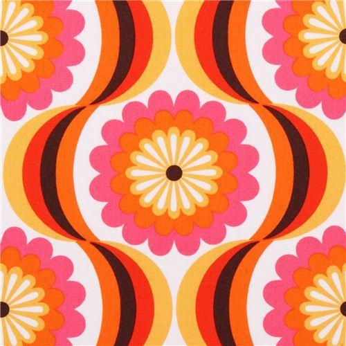 retro flower canvas fabric orange Robert Kaufman