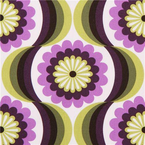 retro flower canvas fabric purple Robert Kaufman