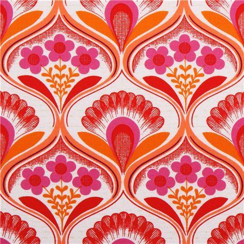 retro flower wallpaper canvas fabric pink Robert Kaufman