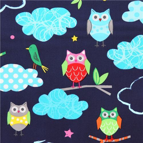 navy blue owl forest animal fabric Garden by Robert Kaufman