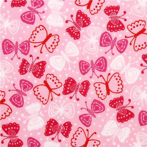 pale pink asia butterfly pattern fabric by Robert Kaufman