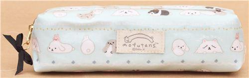 turquoise San-X Mofutans Mochi bunnies pencil case pouch