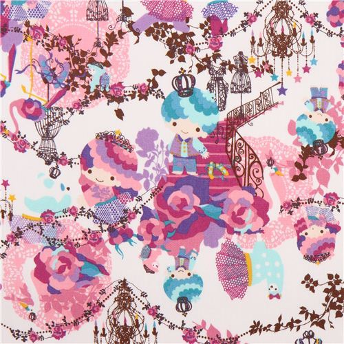 white Little Twin Stars royalty Sanrio oxford fabric from Japan