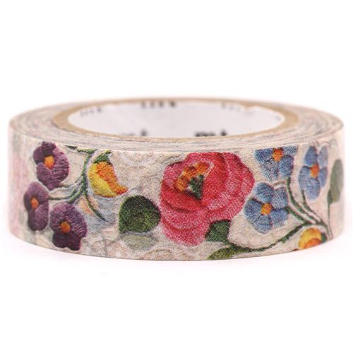 mt Washi Masking Tape deco tape flowers off-white pink purple
