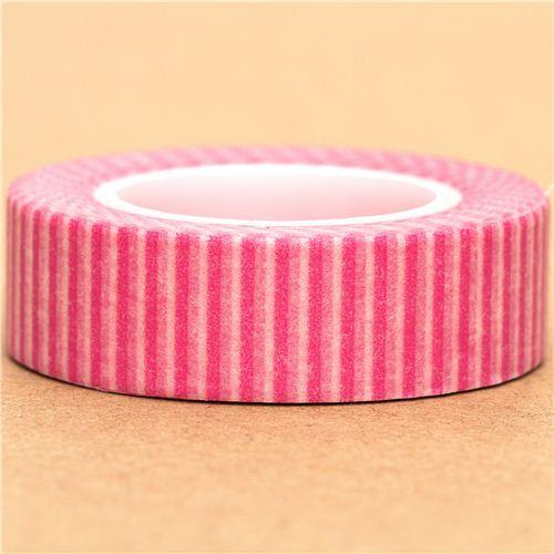 white Washi Masking Tape deco tape pink stripes