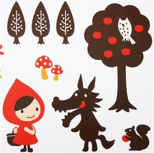 cute Little Red Riding Hood wall sticker wolf Otogicco