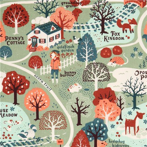 Acorn Trail Map forest girl autumn birch organic fabric from the USA