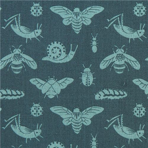 Bugs Tonal Blue insect bug animal birch organic fabric from the USA