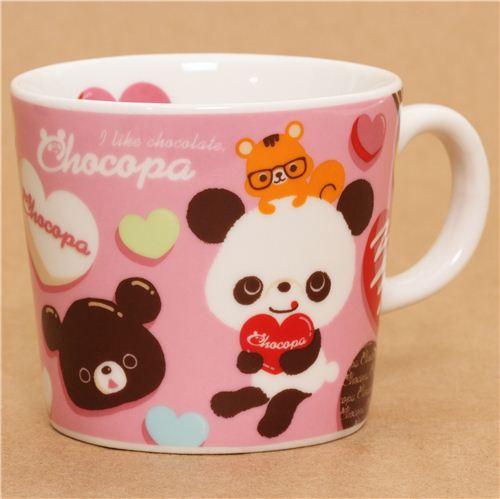 pink chocopa bear with chocolate hearts cup by San-X Japan