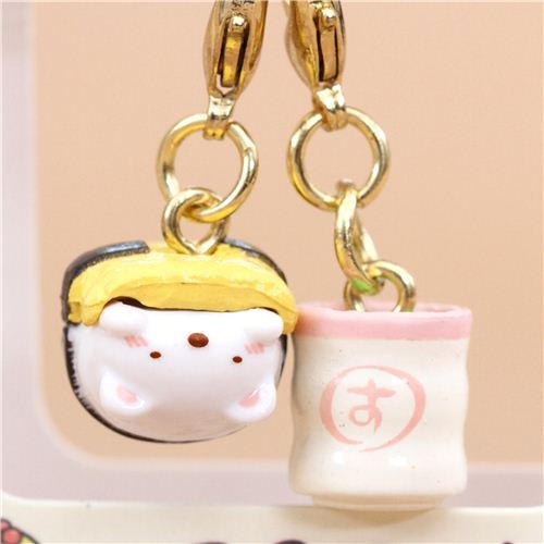 Mini San-X Sumikkogurashi bear food charm cellphone strap