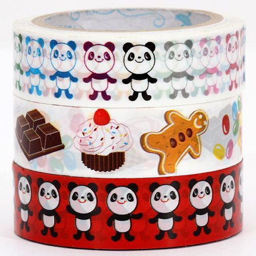 Sticky Tape set with panda bears and sweets