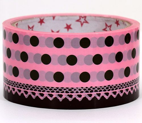 big pink Sticky Tape with polka dots