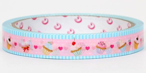 pink cupcakes Sticky Deco Tape with hearts from Japan