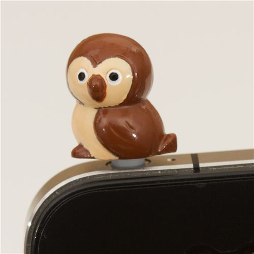 brown owl mobile phone plugy earphone jack accessory