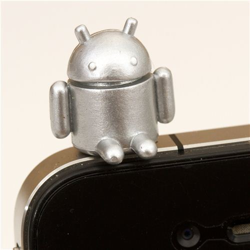 silver Android robot mobile phone plugy accessory