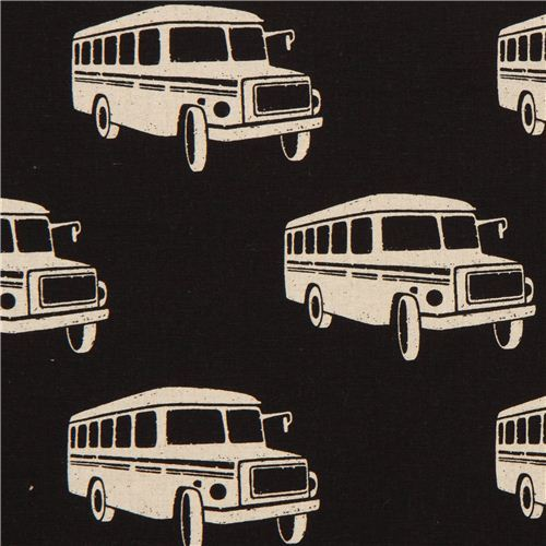 black echino retro bus poplin fabric bonnet bus