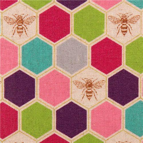 bee echino Canvas laminate fabric purple pink honeycomb