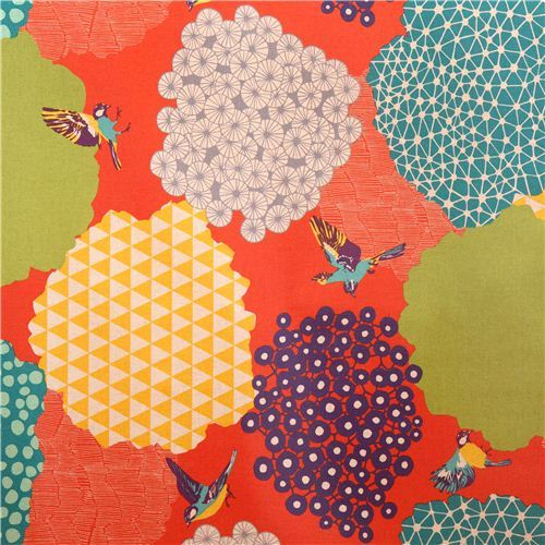 orange kalmia echino Canvas laminate fabric bird bush