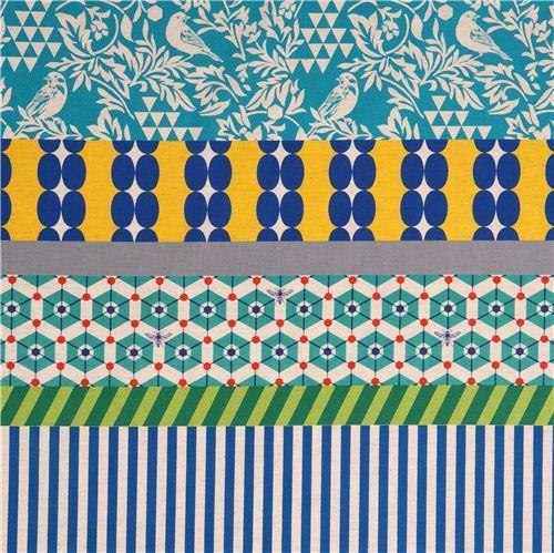wide bird stripe echino poplin fabric gara blue yellow