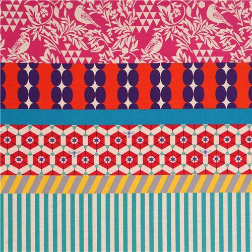 wide bird stripe echino poplin fabric gara pink orange