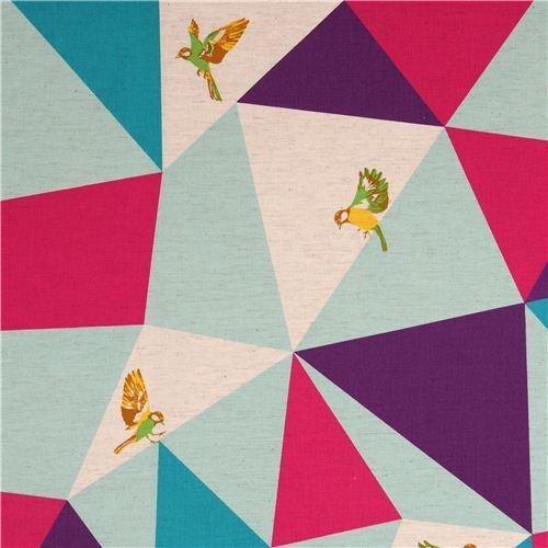 wide mosaic echino poplin fabric turquoise bird triangle