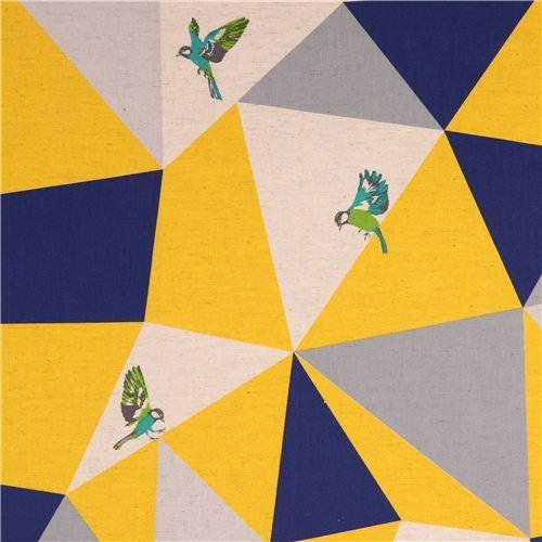 wide mosaic echino poplin fabric yellow bird triangle
