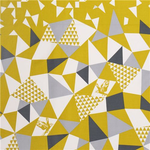 mountain yellow triangle echino Decoro cotton sateen fabric