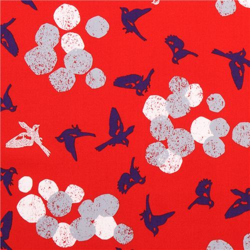 red soaring bird echino Decoro cotton sateen fabric