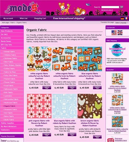 This is our new fabric category in our online shop modes4u.com