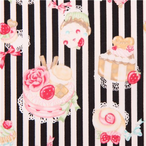 black and white striped sweets dessert fabric by Cosmo
