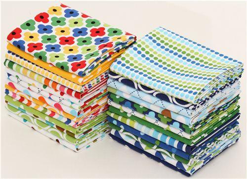 Fat Quarter fabric bundle Ann Kelle green Robert Kaufman