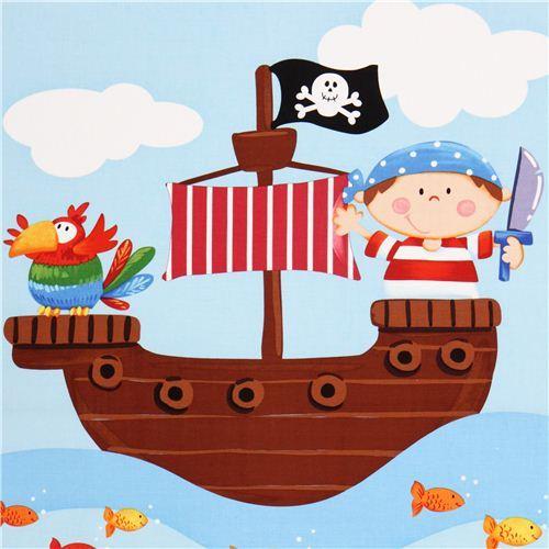 pirate panel children fabric Ahoy Matie Northcott Studio