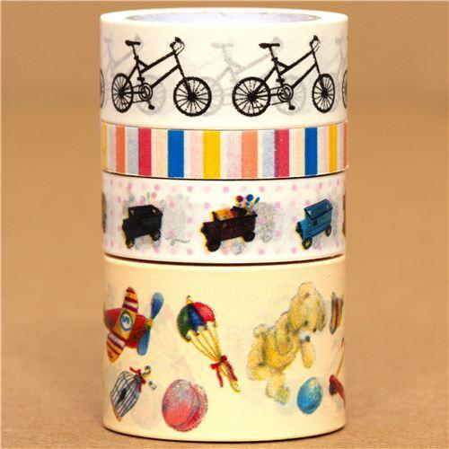 Paper Tape set bike car toys stripes