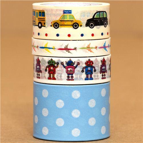 Paper Tape set car airplane robot dots