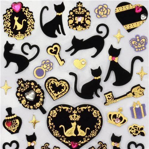 cute black velvet cats sticker with gold from Japan