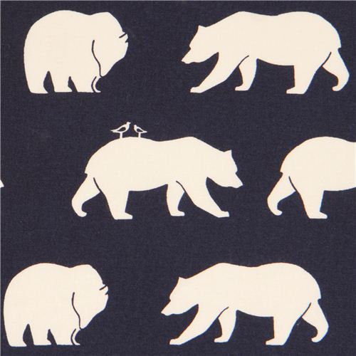 navy blue 'Bear Hike' bears birch poplin organic fabric USA