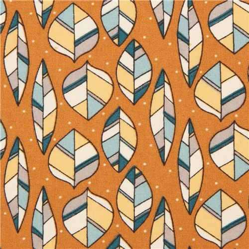 orange leaf pattern & dots organic fabric birch 'leaves'