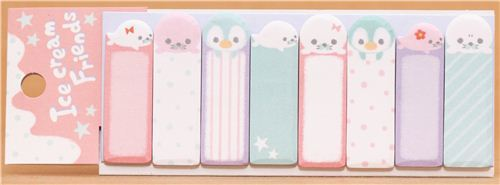 kawaii seal and penguin Post-it bookmark sticker