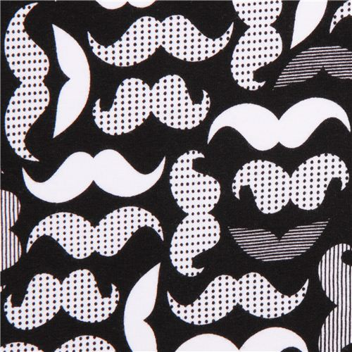 Robert Kaufman moustache Jersey knit fabric black-white