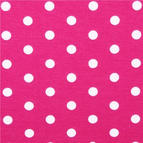 hot pink Robert Kaufman dot Laguna Jersey knit fabric