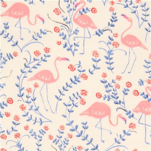 light cream with pink flamingo flower birch Double Gauze organic fabric USA