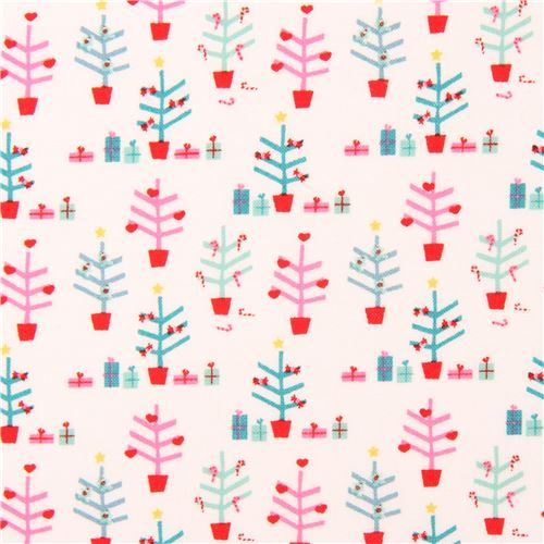 white with cute small Christmas tree fabric by Copenhagen Print Factory