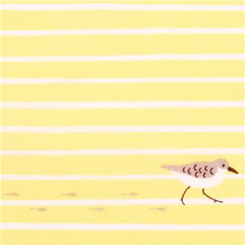 yellow Cloud 9 bird stripe sand organic fabric Sandpiper