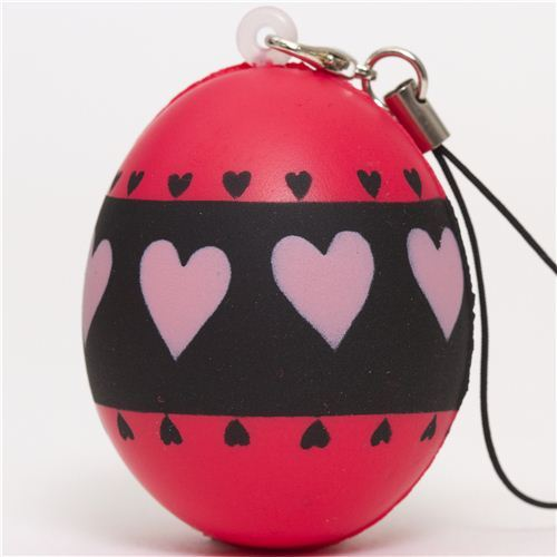 pink egg with hearts squishy cellphone charm