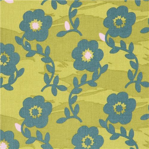 lime green green-grey Kokka cute flower fabric
