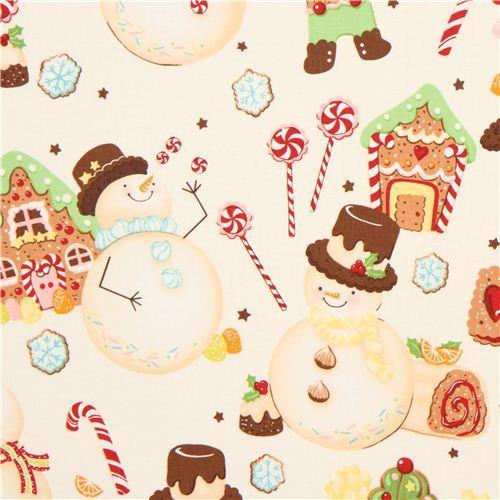 candy snowman Christmas fabric Alexander Henry