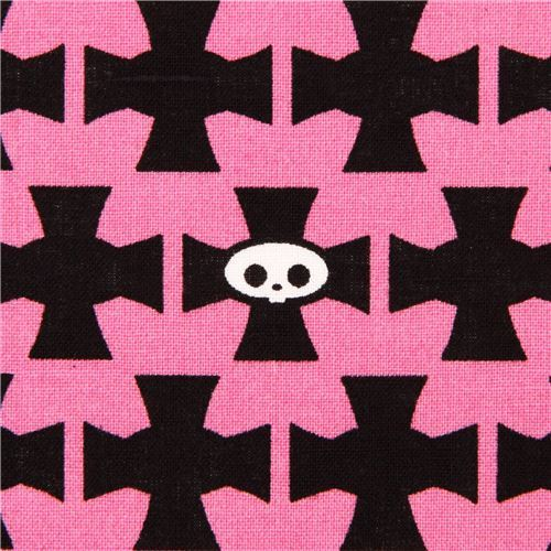pink Skelanimals cross skull fabric from the USA