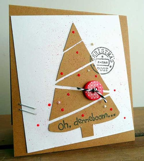 A cute Christmas tree DIY card on woohome.com
