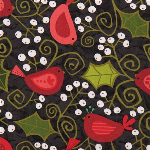 cute charcoal grey Christmas tree mistletoe bird fabric Andover USA
