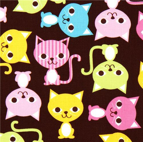 brown fabric with colourful cats Robert Kaufman kawaii